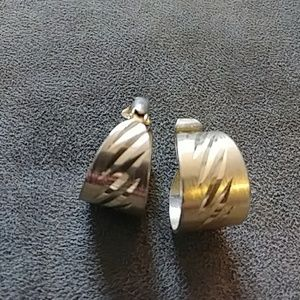 Vintage Gold Small Clip On Think Hoop Earrings